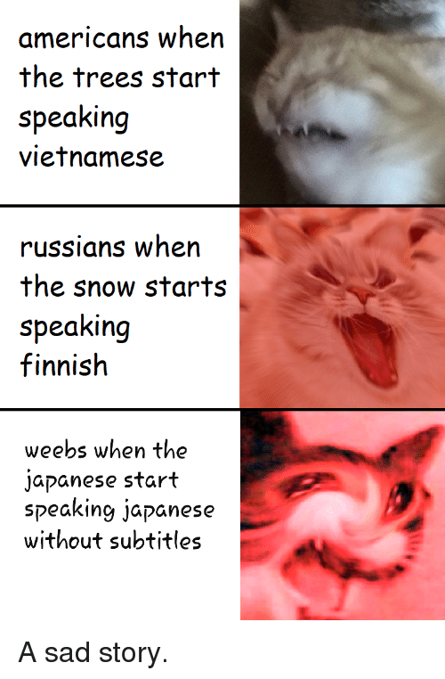 Snow, Trees, and Japanese: americans when  the trees start  speaking  vietnamese  russians when  the snow starts  speaking  finnish  weebs when the  japanese start  speaking japanese  without subtitles A sad story.