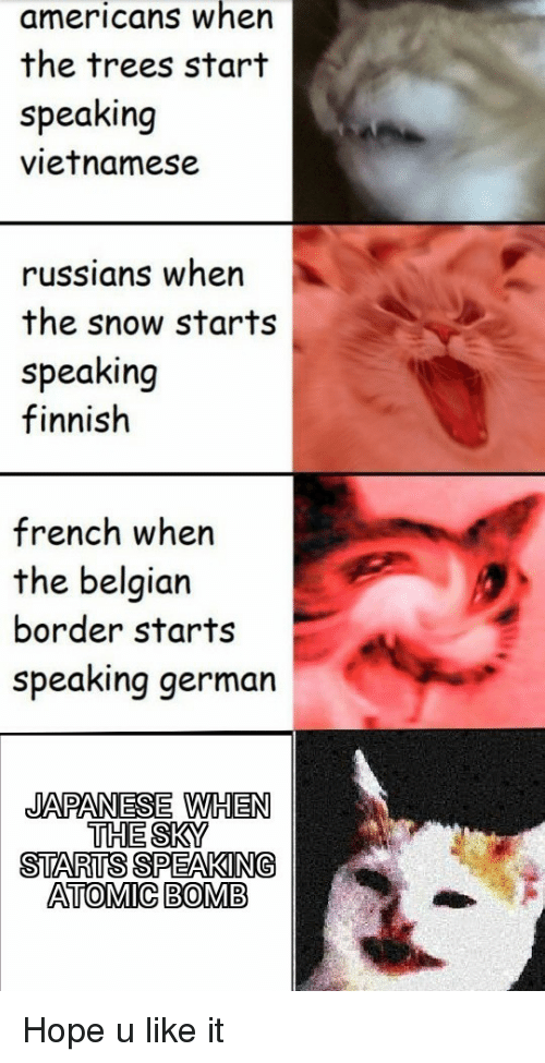 Belgian: americans when  the trees start  speaking  vietnamese  russians wher  the snow starts  speaking  finnish  french when  the belgian  border starts  speaking german  JAPANESE WHEN  THE SKY  STARTS SPEAKING  ATOMIC BOMB Hope u like it