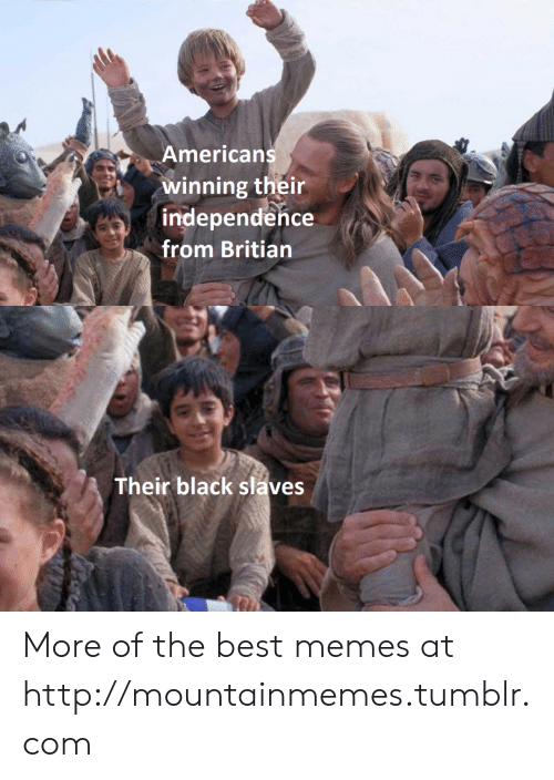 best memes: Americans  winning their  independence  from Britian  Their black slaves More of the best memes at http://mountainmemes.tumblr.com