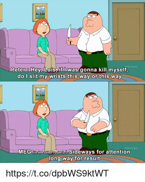 Family Guy, Memes, and Sideways: amily guy  Peter Hey, Lois if I was gonna kill myself,  do I slit my wrists this way or this way  #family guy  MEG (in the other roomy Sideways for attention  long way for result https://t.co/dpbWS9ktWT