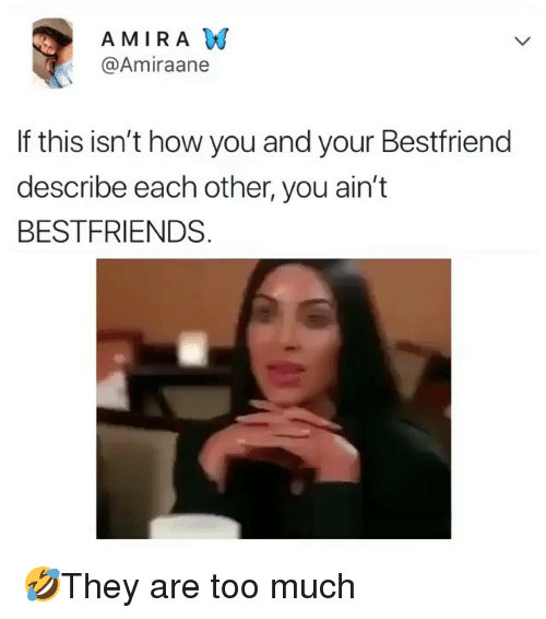 Memes, Too Much, and 🤖: AMIRA W  @Amiraane  If this isn't how you and your Bestfriend  describe each other, you ain't  BESTFRIENDS 🤣They are too much