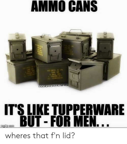 Memes, Tupperware, and 🤖: AMMO CANS  00 CRTG 50 CA  4B31  RACER  IC-1263581  IT'S LIKE TUPPERWARE  BUT - FOR MEN wheres that f'n lid?