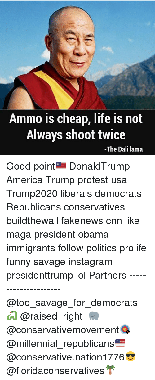 America, cnn.com, and Funny: Ammo is cheap, life is not  Always shoot twice  -The Dali lama Good point🇺🇸 DonaldTrump America Trump protest usa Trump2020 liberals democrats Republicans conservatives buildthewall fakenews cnn like maga president obama immigrants follow politics prolife funny savage instagram presidenttrump lol Partners --------------------- @too_savage_for_democrats🐍 @raised_right_🐘 @conservativemovement🎯 @millennial_republicans🇺🇸 @conservative.nation1776😎 @floridaconservatives🌴