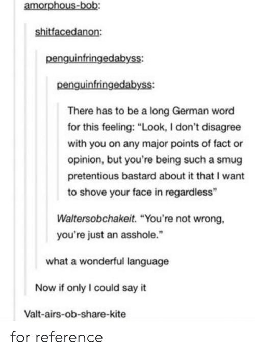 "pretentious: amorphous  penguinfringedabyss:  penguinfringedabyss:  There has to be a long German word  for this feeling: ""Look, I don't disagree  with you on any major points of fact or  opinion, but you're being such a smug  pretentious bastard about it that I want  to shove your face in regardless""  Waltersobchakeit. ""You're not wrong,  you're just an asshole.""  what a wonderful language  Now if only I could say it  Valt-airs-ob-share-kite for reference"