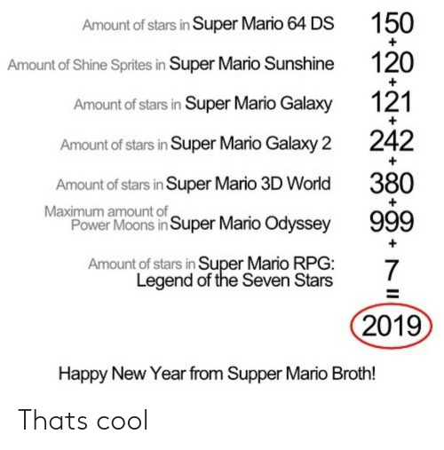 sprites: Amount of stars in Super Mario 64 DS  Amount of Shine Sprites in Super Mario Sunshine  Amount of stars in Super Mario Galaxy  Amount of stars in Super Mario Galaxy 2  Amount of stars in Super Mario 3D World  Power Moons in Super Mario Odyssey  Amount of stars in Super Mario RPG:  150  120  121  242  380  Maximum amount of  Legend of the Seven Stars  2019  Happy New Year from Supper Mario Broth! Thats cool