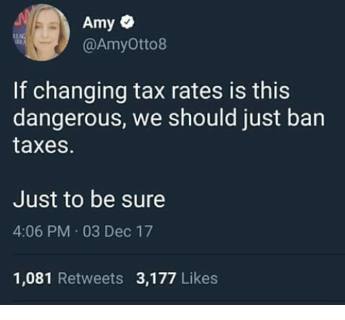 Memes, Taxes, and 🤖: @AmyOtto8  If changing tax rates is this  dangerous, we should just ban  taxes.  Just to be sure  4:06 PM 03 Dec 17  1,081 Retweets 3,177 Likes