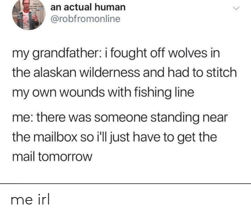 Mail, Tomorrow, and Wolves: an actual human  @robfromonline  my grandfather: i fought off wolves in  the alaskan wilderness and had to stitch  my own wounds with fishing line  me: there was someone standing near  the mailbox so i'll just have to get the  mail tomorrow me irl
