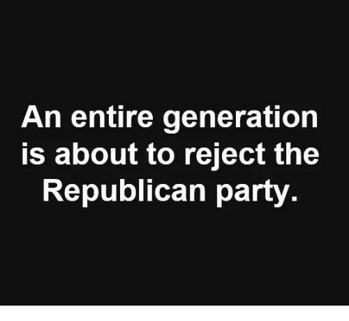 Party, Republican Party, and Republican: An entire generation  s about to reject the  Republican party