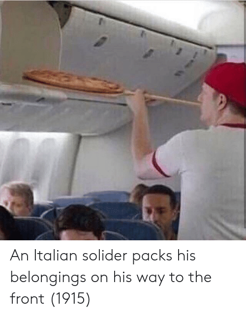 Belongings, Italian, and Solider: An Italian solider packs his belongings on his way to the front (1915)