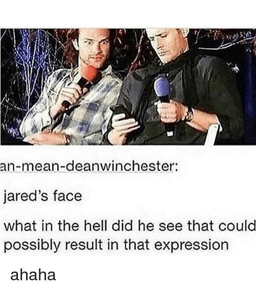 Memes, Mean, and Hell: an-mean-deanwinchester:  jared's face  what in the hell did he see that could  possibly result in that expression ahaha