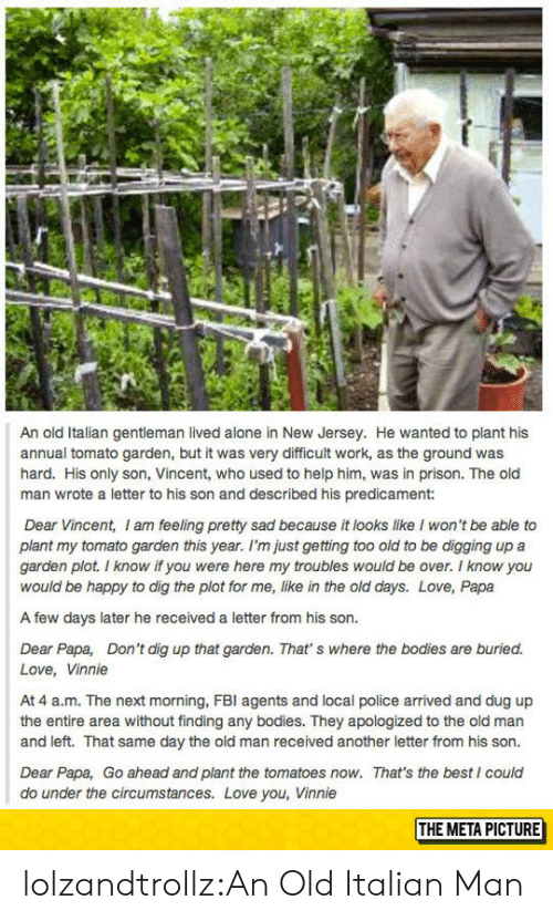 Being Alone, Bodies , and Fbi: An old Italian gentleman lived alone in New Jersey. He wanted to plant his  annual tomato garden, but it was very difficult work, as the ground was  hard. His only son, Vincent, who used to help him, was in prison. The old  man wrote a letter to his son and described his predicament:  Dear Vincent, I am feeling pretty sad because it looks like I won't be able to  plant my tomato garden this year. I'm just getting too old to be digging up a  garden plot. I know if you were here my troubles would be over. I know you  would be happy to dig the plot for me, like in the old days. Love, Papa  A few days later he received a letter from his son.  Dear Papa, Don't dig up that garden. That' s where the bodies are buried.  Love, Vinnie  At 4 a.m. The next morning, FBI agents and local police arrived and dug up  the entire area without finding any bodies. They apologized to the old man  and left. That same day the old man received another letter from his son.  Dear Papa, Go ahead and plant the tomatoes now. That's the best I coulc  do under the circumstances. Love you, Vinnie  THE META PICTURE lolzandtrollz:An Old Italian Man