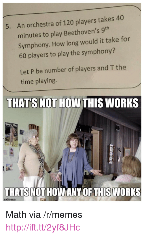 """Memes, Http, and Math: An orchestra of 120 players takes 40  minutes to play Beethoven's 9h  Symphony. How long would it take for  60 players to play the symphony?  5.  Let P be number of players and T the  time playing.  THAT'S NOT HOW THIS WORKS  THATS NOT  HOWANY OF THISWORKS <p>Math via /r/memes <a href=""""http://ift.tt/2yf8JHc"""">http://ift.tt/2yf8JHc</a></p>"""