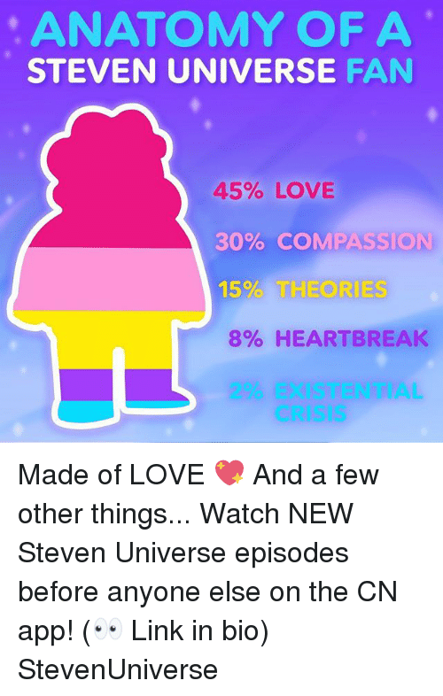Love, Memes, and Link: ANATOMY OF A  STEVEN UNIVERSE FAN  45% LOVE  30% COMPASSION  15% THEORIES  8% HEARTBREAK  2% EXISTENTIAL  CRISIS Made of LOVE 💖 And a few other things... Watch NEW Steven Universe episodes before anyone else on the CN app! (👀 Link in bio) StevenUniverse