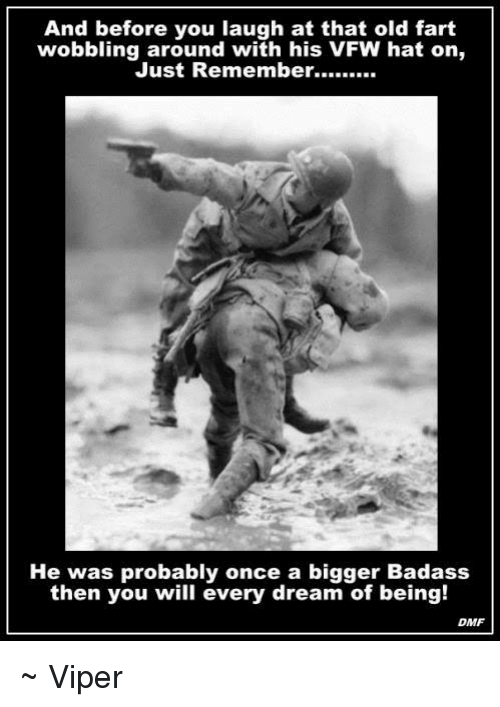 Old Fart: And before you laugh at that old fart  wobbling around with his VFW hat on,  Just Remember  He was probably once a bigger Badass  then you will every dream of being!  DMF ~ Viper