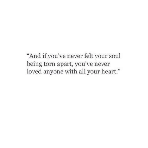 """Heart, Never, and Torn: """"And if you've never felt your sou  being torn apart, you've never  loved anyone with all your heart."""""""