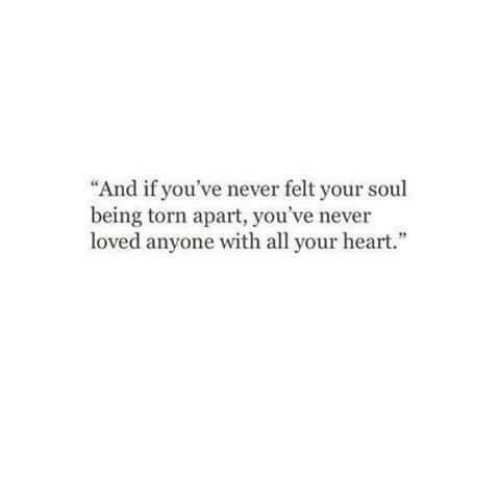 """Heart, Never, and Torn: """"And if you've never felt your soul  being torn apart, you've never  loved anyone with all your heart."""""""