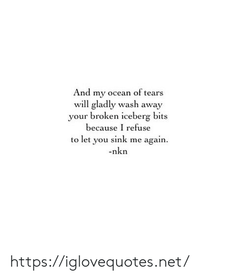 refuse: And my ocean of tears  will gladly wash away  your broken iceberg bits  because I refuse  to let you sink me again  nkn https://iglovequotes.net/