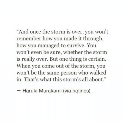 "How, Once, and Storm: ""And once the storm is over, you won't  remember how you made it through,  how you managed to survive. You  won't even be sure, whether the stornm  is really over. But one thing is certain  When you come out of the storm, you  won't be the same person who walked  in. That's what this storm's all about.""  Haruki Murakami (via hqlines)"