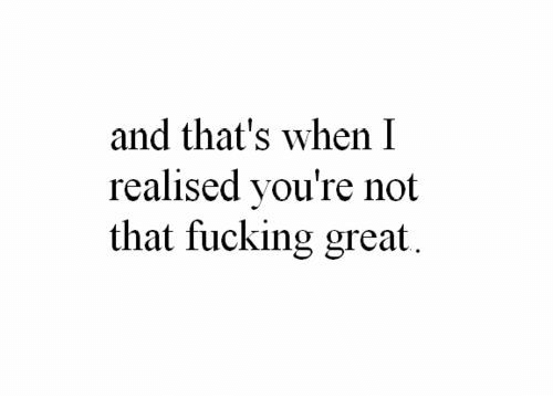 Fucking, Great, and Youre: and that's when I  realised you're not  that fucking great