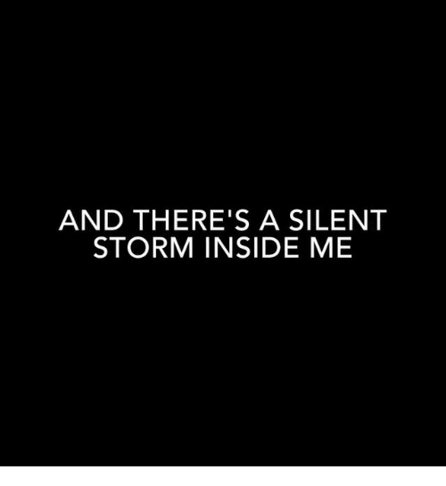 Storm, Silent Storm, and Inside: AND THERE'S A SILENT  STORM INSIDE ME
