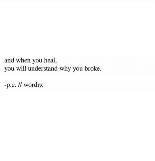 Why, Will, and You: and when you heal,  you will understand why you broke.  -р.с. // wordrx