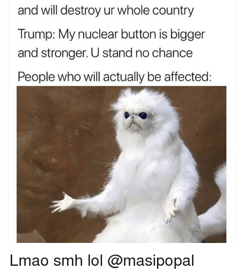 Funny, Lmao, and Lol: and will destroy ur whole country  Trump: My nuclear button is bigger  and stronger. U stand no chance  People who will actually be affected: Lmao smh lol @masipopal