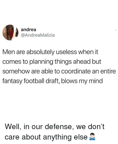 Fantasy Football, Football, and Memes: andrea  @AndreaMalizia  Men are absolutely useless when it  comes to planning things ahead but  somehow are able to coordinate an entire  fantasy football draft, blows my mind Well, in our defense, we don't care about anything else🤷🏻♂️