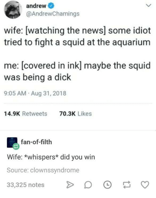 Funny, News, and Tumblr: andrew  @AndrewChamings  wife: [watching the news] some idiot  tried to fight a squid at the aquarium  me: [covered in ink] maybe the squid  was being a dick  9:05 AM Aug 31, 2018  14.9K Retweets  70.3K Likes  fan-of-filth  Wife: *whispers* did you win  Source: clownssyndrome  33,325 notesD