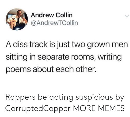 Dank, Diss, and Memes: Andrew Collin  @AndrewTCollin  A diss track is just two grown men  sitting in separate rooms, writing  poems about each other. Rappers be acting suspicious by CorruptedCopper MORE MEMES