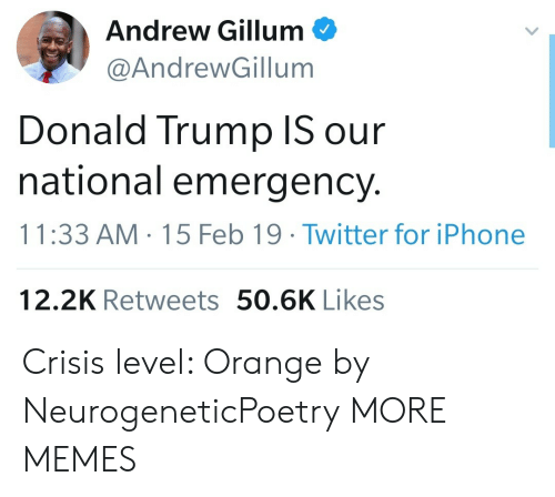 Dank, Donald Trump, and Iphone: Andrew Gillum  @AndrewGillum  Donald Trump IS our  national emergency.  11:33 AM 15 Feb 19 Twitter for iPhone  12.2K Retweets 50.6K Likes Crisis level: Orange by NeurogeneticPoetry MORE MEMES