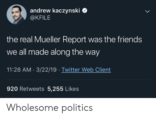 Friends, Politics, and Twitter: andrew kaczynski  @KFILE  the real Mueller Report was the friends  we all made along the way  11:28 AM 3/22/19 Twitter Web Client  920 Retweets 5,255 Likes Wholesome politics