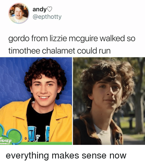 lizzie mcguire: andy  @epthotty  gordo from lizzie mcguire walked so  timothee chalamet could run  ISNE  ANNEL everything makes sense now