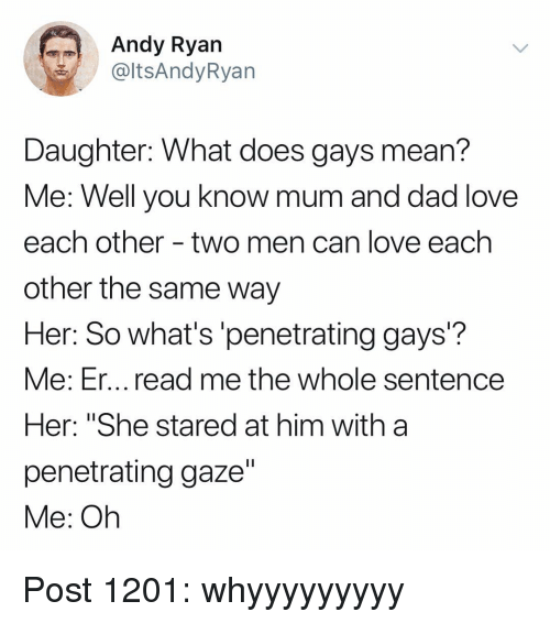 """Dad, Love, and Memes: Andy Ryan  @ltsAndyRyan  Daughter: What does gays mean?  Me: Well vou know mum and dad love  each other - two men can love each  other the same way  Her: So what's'penetrating gays?  Me: Er... read me the whole sentence  Her: """"She stared at him with a  penetrating gaze""""  Me: Oh Post 1201: whyyyyyyyyy"""