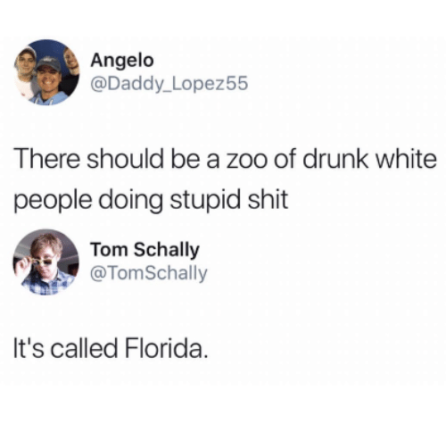 Drunk, Shit, and White People: Angelo  @Daddy_ Lopez55  There should be a zoo of drunk white  people doing stupid shit  Tom Schally  @TomSchally  It's called Florida.