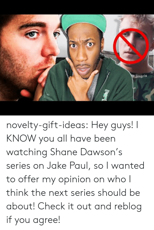 Tumblr, Angels, and Blog: angels novelty-gift-ideas:  Hey guys! I KNOW you all have been watching Shane Dawson's series on Jake Paul, so I wanted to offer my opinion on who I think the next series should be about! Check it out and reblog if you agree!