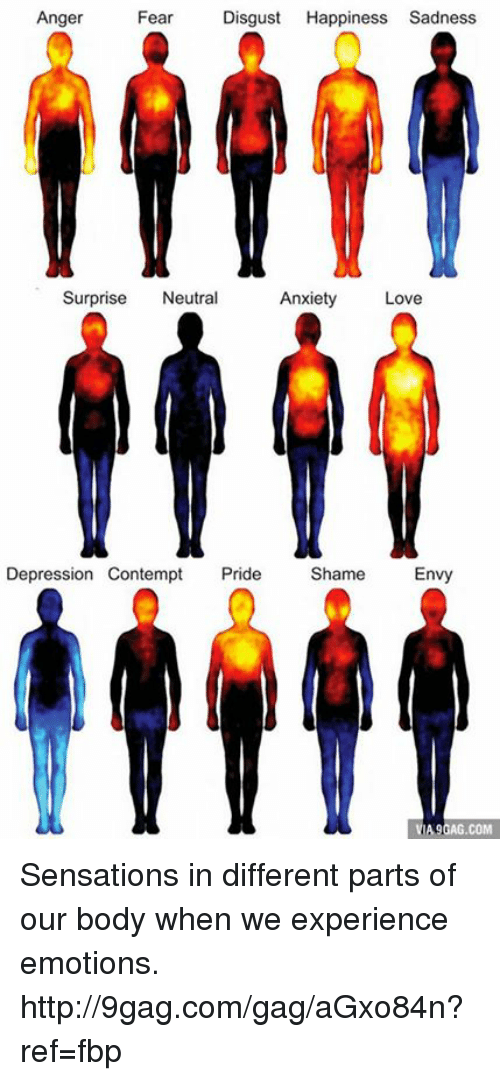 Contempting: Anger  Fear  Disgust  Happiness Sadness  Surprise  Neutral  Anxiety  Love  Depression Contempt  Pride  Shame  Envy  A9GAG.COM Sensations in different parts of our body when we experience emotions. http://9gag.com/gag/aGxo84n?ref=fbp