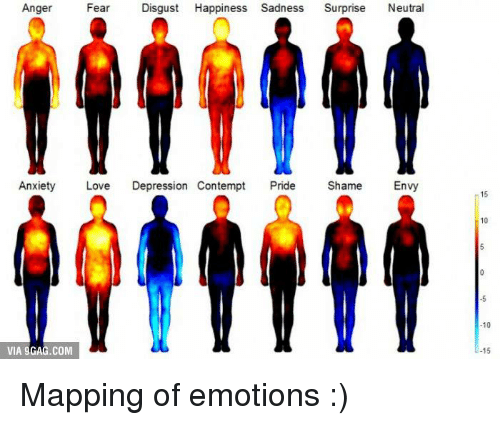 Contempting: Anger  Fear  Disgust Happiness Sadness  Surprise  Neutral  Anxiety  Love  Depression Contempt  Pride  Shame  Envy  VIA 9GAG.COM  10  15 Mapping of emotions :)