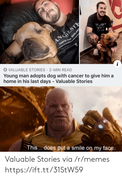 England, Memes, and Cancer: ANGHEST  NORTH ES  VALUABLE STORIES 2-MIN READ  Young man adopts dog with cancer to give him a  home in his last days - Valuable Stories  This... does put a smile on my face.  ENGLAND Valuable Stories via /r/memes https://ift.tt/31StW59