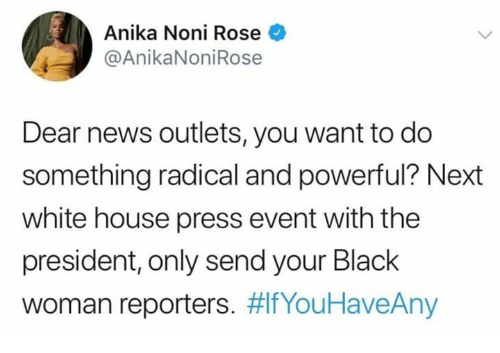 Memes, News, and White House: Anika Noni Rose  @AnikaNoniRose  Dear news outlets, you want to do  something radical and powerful? Next  white house press event with the  president, only send your Black  woman reporters.