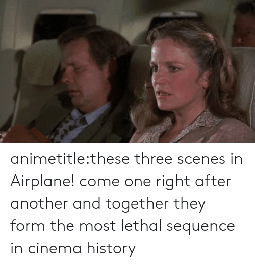 Airplane: animetitle:these three scenes in Airplane! come one right after another and together they form the most lethal sequence in cinema history