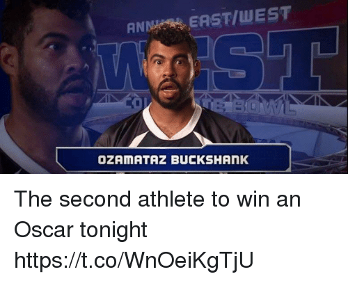 Football, Nfl, and Sports: ANMS EAST/WEST  OZAMATAZ BUCKSHAnK The second athlete to win an Oscar tonight https://t.co/WnOeiKgTjU