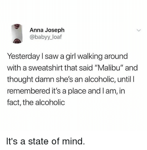 "Anna, Funny, and Saw: Anna Joseph  @babyy_loaf  Yesterday I saw a girl walking around  with a sweatshirt that said ""Malibu"" and  thought damn she's an alcoholic, until I  remembered it's a place and I am, in  fact, the alcoholic It's a state of mind."