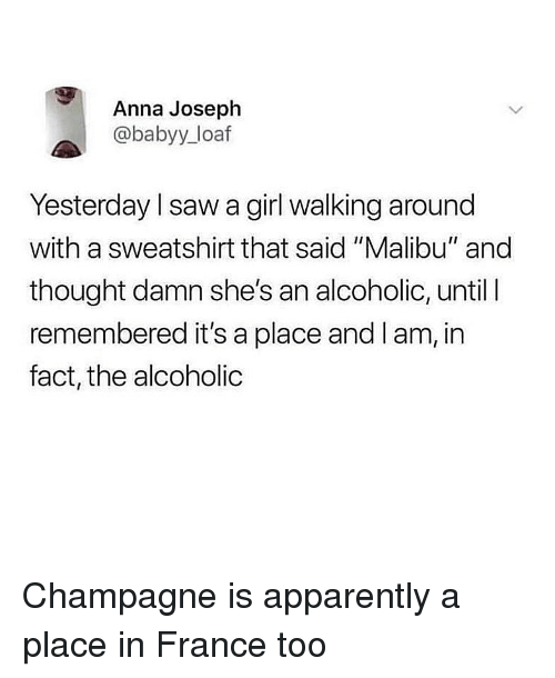 "Anna, Apparently, and Saw: Anna Joseph  @babyy_loaf  Yesterday l saw a girl walking around  with a sweatshirt that said ""Malibu"" and  thought damn she's an alcoholic, until l  remembered it's a place and I am, in  fact, the alcoholic Champagne is apparently a place in France too"