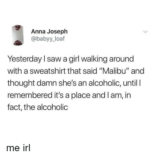 "Anna, Saw, and Girl: Anna Joseph  @babyy_loaf  Yesterday l saw a girl walking around  with a sweatshirt that said ""Malibu"" and  thought damn she's an alcoholic, until I  remembered it's a place and I am, in  fact, the alcoholic me irl"