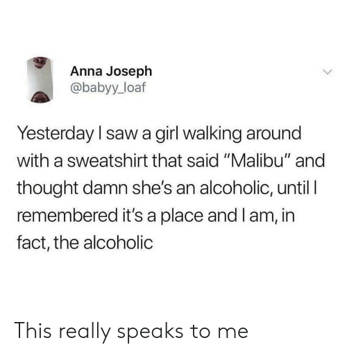 "Anna, Saw, and Girl: Anna Joseph  @babyy_loaf  Yesterday l saw a girl walking around  with a sweatshirt that said ""Malibu"" and  thought damn she's an alcoholic, until I  remembered it's a place and I am, in  fact, the alcoholic This really speaks to me"
