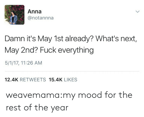Its May: Anna  @notannna  Damn it's May 1st already? What's next,  May 2nd? Fuck everything  5/1/17, 11:26 AM  12.4K RETWEETS 15.4K LIKES weavemama:my mood for the rest of the year