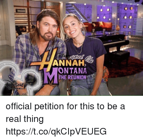 Relatable, Thing, and Reunion: ANNAH  ONTANA  MTHE REUNION  SNE  NNEL official petition for this to be a real thing https://t.co/qkCIpVEUEG