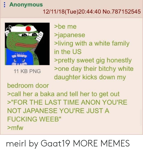 """MFW: Anonymous  12/11/18(Tue)20:44:40 No.787152545  >be me  Sjapanese  living with a white family  in the US  >pretty sweet gig honestly  11 KB PNG one day their bitchy white  daughter kicks down my  bedroom door  >call her a baka and tell her to get out  """"FOR THE LAST TIME ANON YOU'RE  NOT JAPANESE YOU'RE JUST A  FUCKING WEEB""""  >mfw meirl by Gaat19 MORE MEMES"""