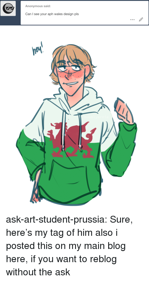 Target, Tumblr, and Anonymous: Anonymous said:  Can I see your aph wales design pls ask-art-student-prussia:  Sure, here's my tag of himalso i posted this on my main blog here, if you want to reblog without the ask