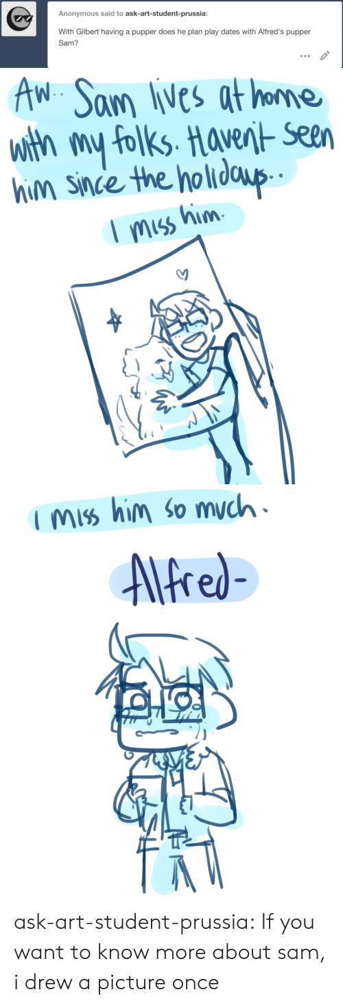 Instagram, Target, and Tumblr: Anonymous said to ask-art-student-prussia:  With Gilbert having a pupper does he plan play dates with Alfred's pupper  Sam?  IS   AW Sam lives at home  With my folks. Haverit- Seen  him since the holidaup  miss him   fred- ask-art-student-prussia:  If you want to know more about sam, i drew a picture once